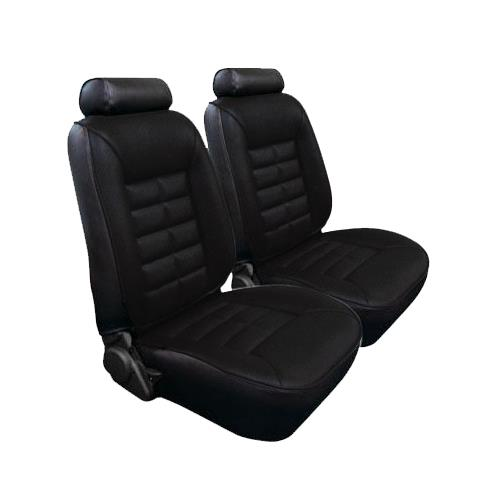 TMI Mustang Seat Upholstery Black Cloth/Vinyl (1981) Ghia Coupe Low Back
