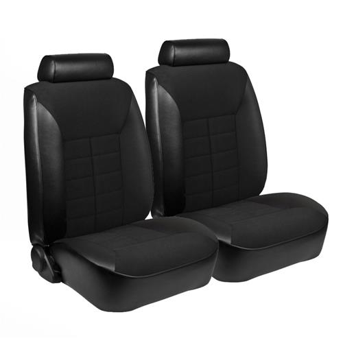 TMI Mustang Seat Upholstery Black Cloth/Vinyl (1981) Ghia Coupe Low Back 43-73821-958-551-51