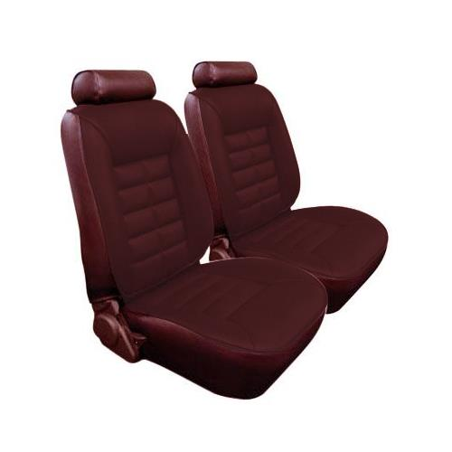 TMI Mustang Seat Upholstery Medium Red Cloth/Vinyl (81-82) Hatchback Low Back