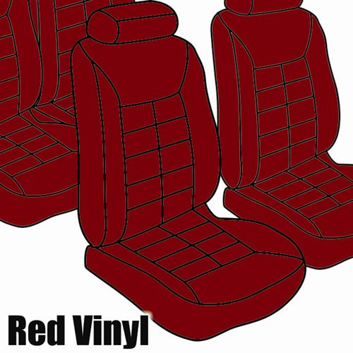 TMI Mustang Seat Upholstery Medium Red Vinyl (81-83) Coupe Low Back 43-73221-971-971