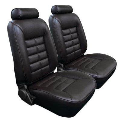 Mustang TMI Seat Upholstery Black Leather (81-83) Low Back Hatchback