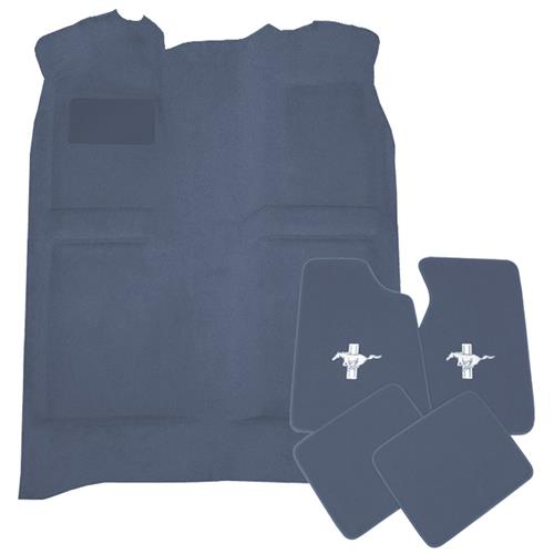 Mustang Floor Carpet & Pony Logo Floor Mat Kit Crystal Blue (90-92) Coupe Hatchback