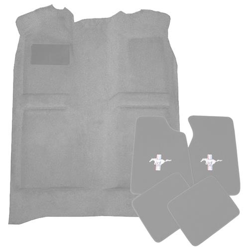Mustang Floor Carpet & Pony Logo Floor Mat Kit Opal Gray (1993) Coupe Hatchback