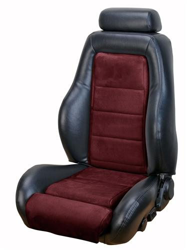 1984-86 Mustang Hatchback Black Vinyl/Maroon Insert 03-04 Cobra Style Upholstery with Seat Foam, Small Headrest  Email for Picture. Same As Lrs-8486Hbcg But with Maroon Insert