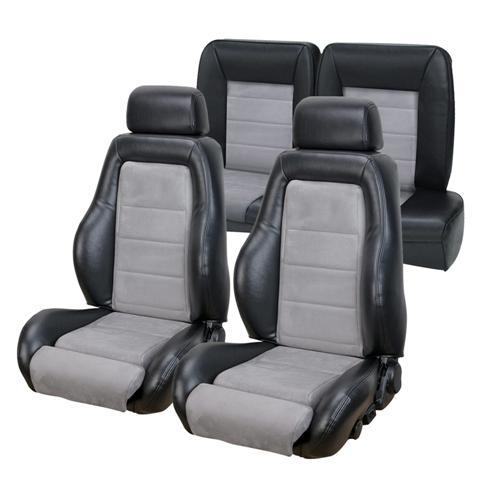 Mustang 03-04 Cobra Style Seat Upholstery w/ Seat Foam Black Vinyl/Graphite Suede Insert (84-86) Convertible 43-74984K-958-7042