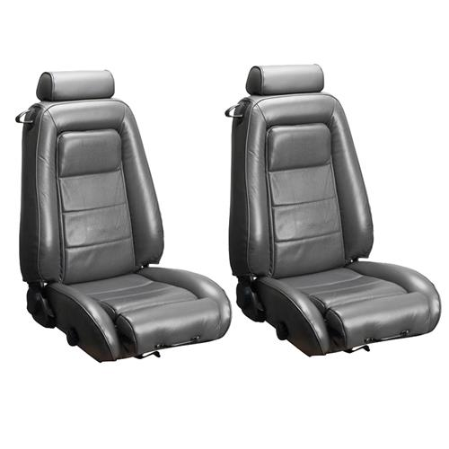 TMI Mustang Sport Seat Upholstery Charcoal Gray Leather (85-86) Convertible 43-74623-L543P