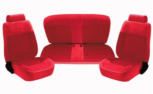 TMI Mustang Standard Seat Upholstery Scarlet Red Cloth (87-89) Coupe 43-73227-59-59-59
