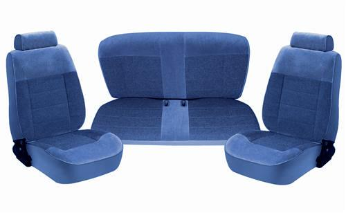 TMI Mustang Standard Seat Upholstery Regatta Blue Cloth (87-89) Coupe 43-73227-58-58-58