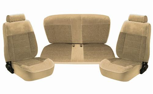 TMI Mustang Standard Seat Upholstery Sand Beige Cloth (87-89) Coupe 43-73227-54-54-54