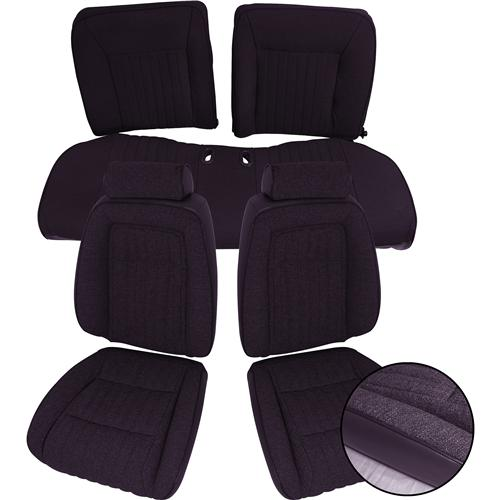Mustang Sport Seat Upholstery Black Cloth (87-89) Convertible