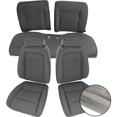 TMI Mustang Sport Seat Upholstery Smoke Gray Cloth (87-89) Convertible 43-74628-953-71