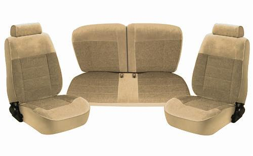 TMI Mustang Seat Upholstery Sand Beige Cloth (87-89) LX Convertible 43-75227-54-54-54