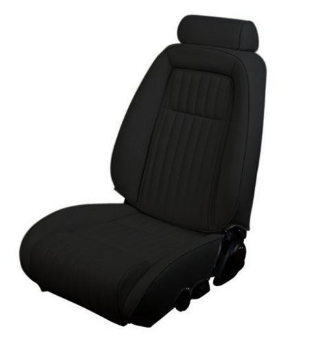 Picture of 1987-89 Mustang Convertible Black Vinyl Seat Upholstery, For sport seat with pull out knee bolster.  Please use LRS-8789cvcb and photoshop picture