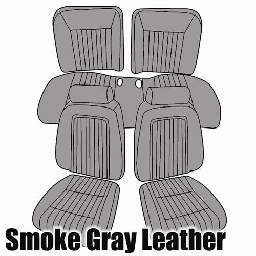 TMI Mustang Sport Seat Upholstery Smoke Gray Leather (87-89) Convertible 43-74627-L674