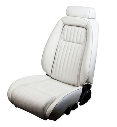 TMI Mustang Seat Upholstery Oxford White Leather (87-89) Convertible 43-74627-L810