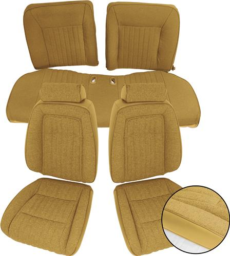 TMI Mustang Sport Seat Upholstery Sand Beige Cloth (87-89) Convertible 43-74628-973-74