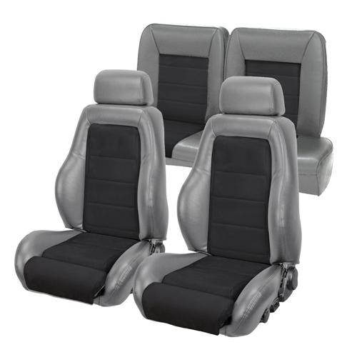 TMI Mustang 03-04 Cobra Seat Upholstery w/ Seat Foam Smoke Gray/Black Suede (87-89) Coupe 43-73987K-953-99