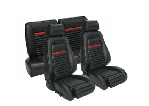 TMI Mustang Mach 1 Style Seat Upholstery Black Vinyl (84-89) Hatchback 43-75027-958-801-63S