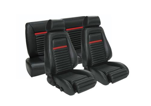 TMI Mustang Mach 1 Seat Upholstery Black/Red Vinyl (87-89) Convertible