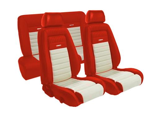 TMI Mustang Pony Seat Upholstery Red/White Vinyl (87-89) Coupe