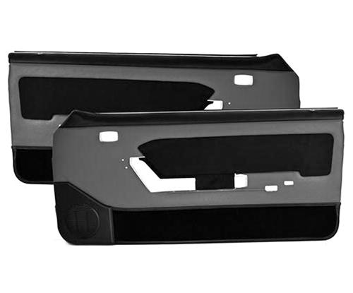 Mustang Power Window Door Panels Smoke Gray w/ Black Suede Insert/ Black Carpet (87-89) Hardtop 10-73107-953-99-801