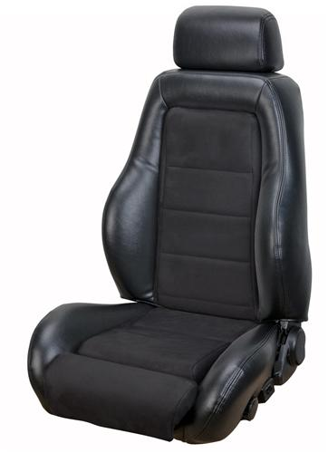 Mustang 03-04 Cobra Style Seat Upholstery with Seat Foam Black Vinyl/ Black Suede Insert (87-89) Convertible 43-74987K-958-99