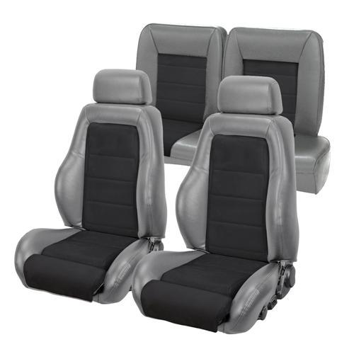 TMI Mustang 03-04 Cobra Style Upholstery with Seat Foam Smoke Gray Vinyl/ Black Suede Insert (87-89) Convertible 43-74987K-953-99