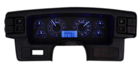 Picture of 1987-93 Mustang Dakota Digital Vhx Gauge Cluster. Carbon Face/Blue Backlighting