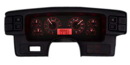 1987-93 Mustang Dakota Digital Vhx Gauge Cluster. Carbon Face/Red Backlighting   - picture of 1987-93 Mustang Dakota Digital Vhx Gauge Cluster. Carbon Face/Red Backlighting