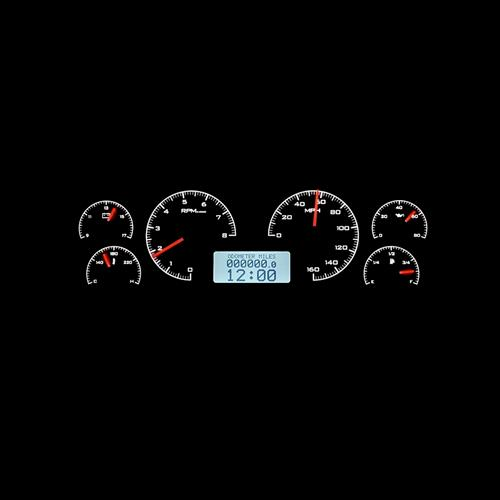 1987-89 Mustang Digital Instrument Cluster - Black Alloy/White Backlighting  by Dakota Digital