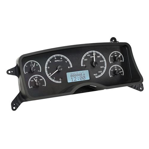 Mustang Digital Instrument Cluster  - Black Alloy/White Backlighting (87-89) VHX-87F-MUS-K-W