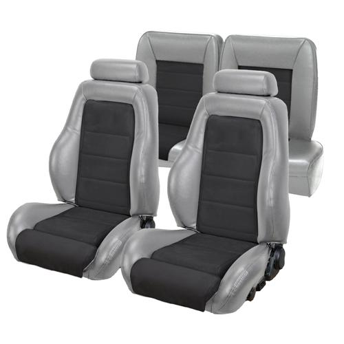 TMI Mustang 03-04 Cobra Seat Upholstery w/ Seat Foam Titanium Gray/Black (1992) Coupe 43-73982K-972-99
