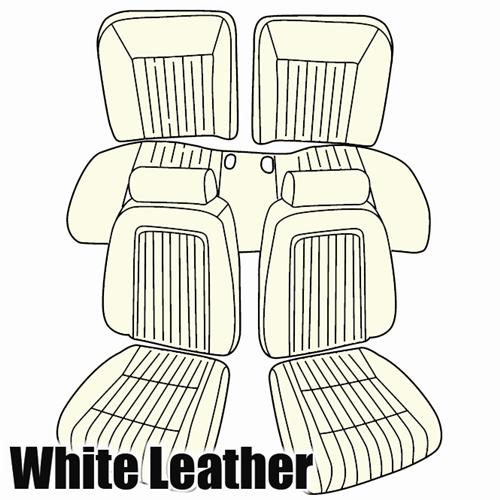 TMI Mustang Sport Seat Upholstery Oxford White Leather (90-91) Convertible 43-74620-L810