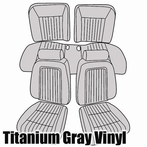 TMI Mustang Sport Seat Upholstery Titanium Gray (90-91) Convertible 43-74630-972