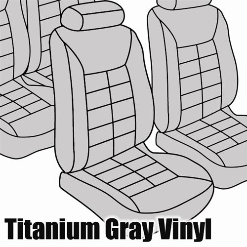 TMI Mustang Seat Upholstery Titanium Gray Vinyl (90-92) LX Coupe 43-73221-972