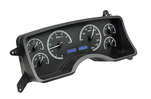 1990-93 Mustang Dakota Digital Gauge Cluster. Black Alloy, Blue Odometer Picture