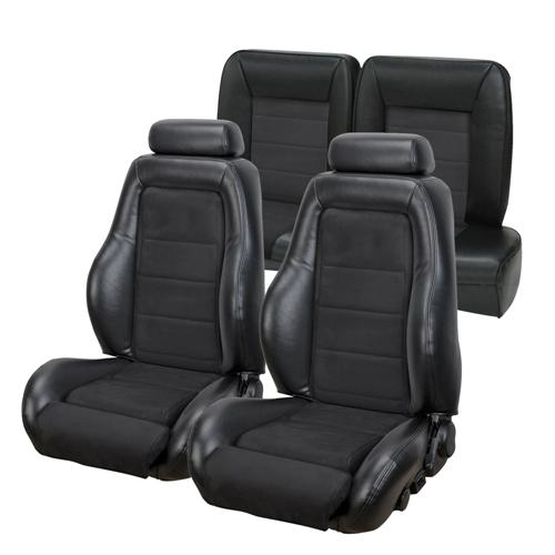 TMI Mustang 03-04 Cobra Seat Upholstery w/ Seat Foam Black Vinyl/Suede Inserts (90-91) Coupe 43-73980K-958-99
