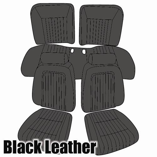 TMI Mustang Sport Seat Upholstery Black Leather (92-93) Convertible 43-74621-L958