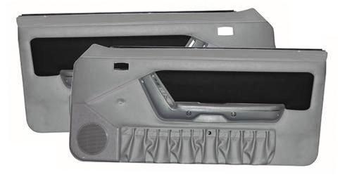 Mustang Power Window Door Panels Opal Gray W/Black Suede Insert/ Gray Map Pocket. (1993)  - Picture of Mustang Power Window Door Panels Opal Gray W/Black Suede Insert/ Gray Map Pocket. (1993)  This Can Use The Same Description And Picture As Lrs-9091Sgbs, But Tweaked for Opal Gray