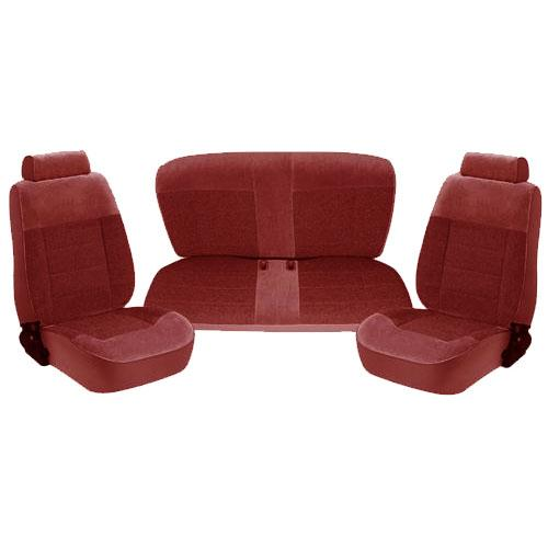 TMI Seat Upholstery for 1993 Hatchback. Standard Seats, Ruby Red