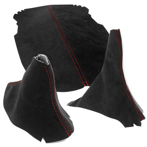 Mustang JPM Coachworks Alcantara Interior Kit - Automatic  - Black w/ Red Stitching (15-17)