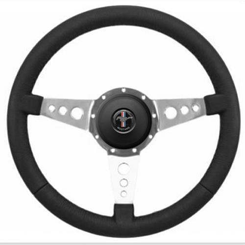 Mustang Premium Leather Steering Wheel Kit  - 3 Hole Spoke - Pony Logo Button (84-89)