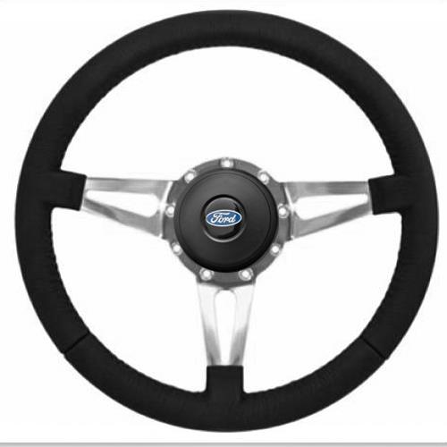 Mustang Premium Leather Steering Wheel Kit  - Slotted Spoke - Ford Oval Button (79-83)