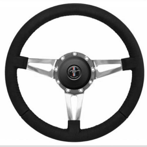 Mustang Premium Leather Steering Wheel Kit  - Slotted Spoke - Pony Logo Button (84-89)
