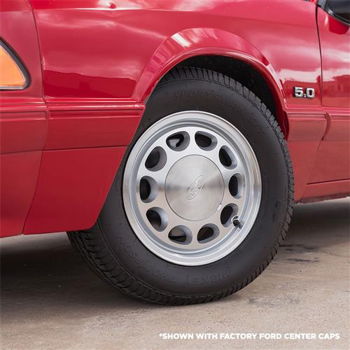 Mustang 10-Hole Wheel & Tire Kit - 15x7 - Machined - Ohtsu Tires (79-93)