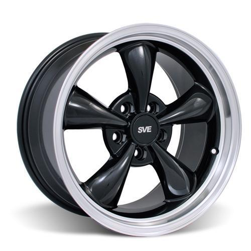 Mustang Bullitt Wheel & Tire Kit - 17x9/10.5 - Staggered  Black W/ Machined Lip (94-04) Nitto NT555 G2