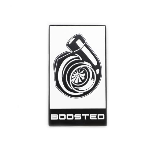 Mustang EcoBoost Boosted Decklid Emblem  - White w/ Black (15-18)