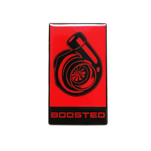 Mustang EcoBoost Boosted Grille Emblem  - Red w/ Black (15-18)