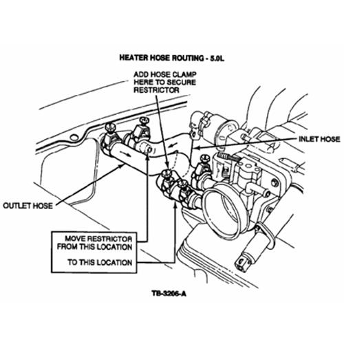 mustang heater core flow restrictor  79