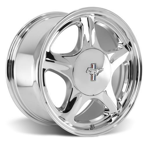 Mustang Staggered Pony Wheel & Tire Kit - 17x8/10 Chrome (79-93) Sumitomo ZII